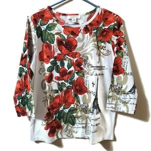 Tradition | Floral Paris top with accent sequins